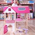 Grande 55 cm de Móveis Casa de Bonecas Em Miniatura Diy villa brinquedo do Enigma 3D De Madeira Miniaturas Casa De Bonecas Para Presentes de Aniversário para Crianças DHL Livre