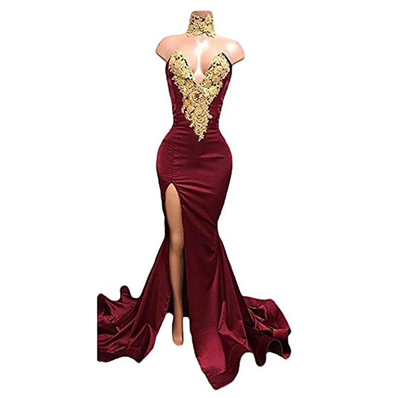 Sexy Burgundy   Prom     Dresses   Gold Lace Appliqued Mermaid   Prom     Dress   Front Split Evening   dress   2019 Sex Long Party Evening Gowns