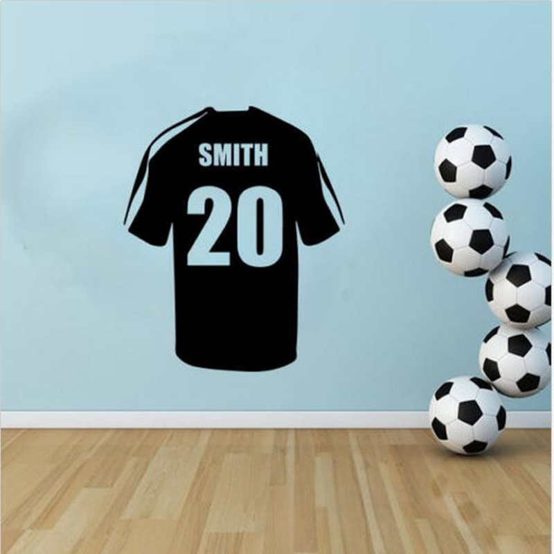 Personalised custom Name - Football Soccer Shirt Jersey Vinyl Wall Stickers Home Decor Wall Stickers For Kids Rooms W 325