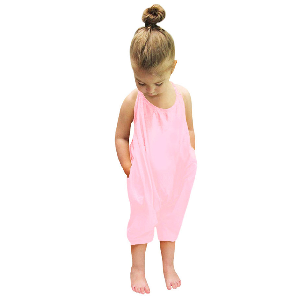Fashion Baby Girls Jumpsuit Pink Strap Rompers Toddler Kids Sleeveless Trousers Girls Summer Backless Overalls Clothes for 0-7Y