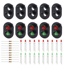 JTD17 10 sets Target Faces With LEDs for Railway signal HO OO TT Scale 2 Aspects Block Signal Heads