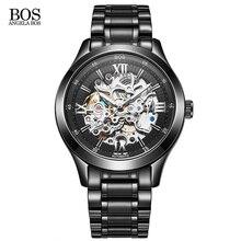 ANGELA BOS Esquelético Romano Mecánico Automático de Lujo del Acero Inoxidable Hombres Reloj Marca Etiquetar Heuerwatch Hombre Relojes de Pulsera Para Hombres