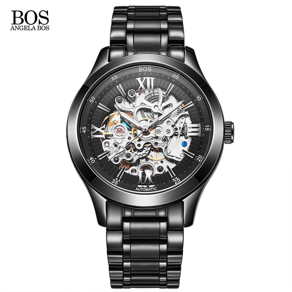 Prix pour Angela bos squelette mécanique romain acier inoxydable marque montre hommes tag heuerwatch de luxe automatique homme montres pour hommes