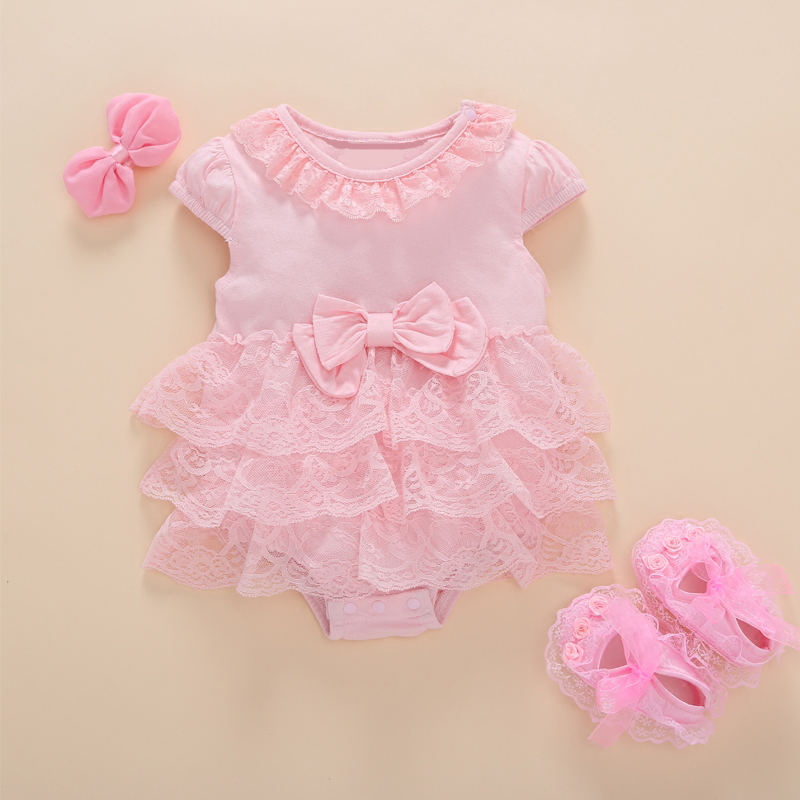 Prinses stijl pasgeboren baby jurk doop zomer korte witte ruche kant romper feestjurken baby meisje kleding jurk 0-3