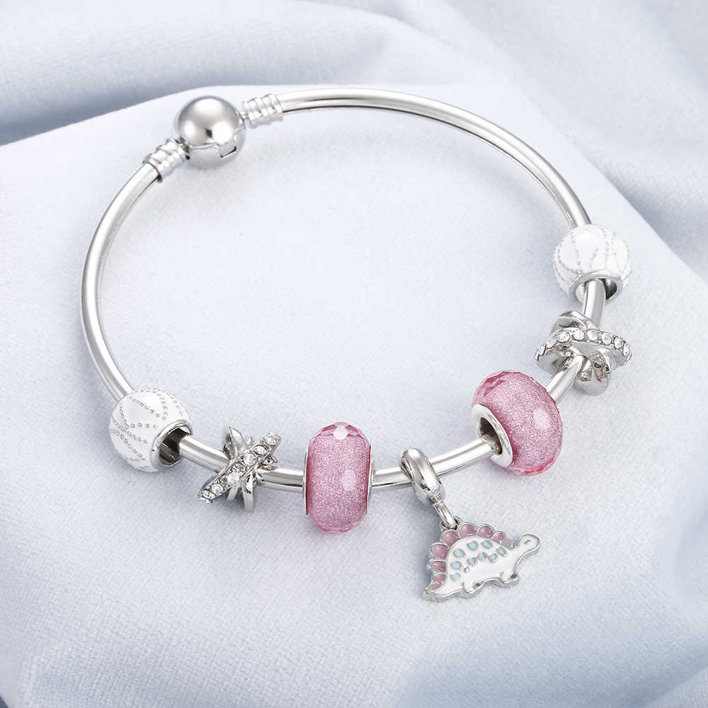 Pink Crystal Stone Bead Creative Bracelet Silver Charm Heart Flower Elephant Dinosaur Pendant Bracelets&Bangle Women DIY Jewelry