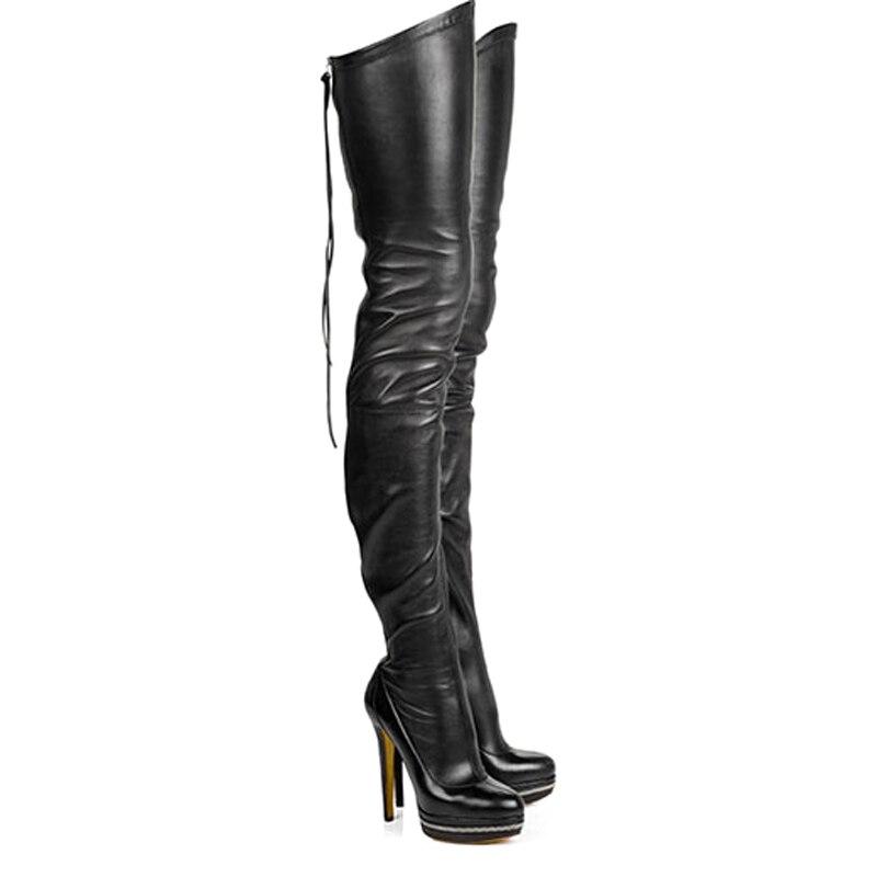 Más Estiramiento Señoras Rumbidzo Tamaño Tacones Botas Moda Mujer Rodilla Alta Partido Plataforma Vestido La Altos Sobre Zapatos Sexy 2018 qSTqp