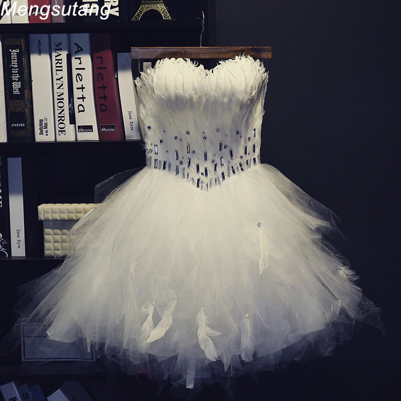 Robe de soiree 2018 Ball Gown Princess Strapless vestido de festa longo feather short design bouquet