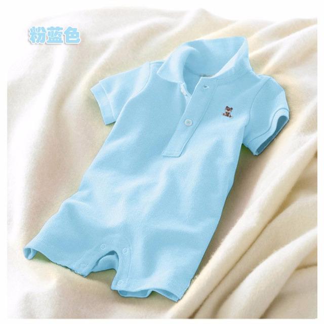 TZ-27, muchachas del verano del bebé polo mameluco del traje, color sólido mono de la manga corta, 97% algodón 3% spandex