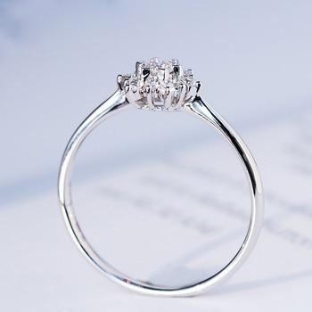 0.32ctw الماس الحقيقي خاتم الخطوبة الشق الإعداد سوليتير سوليتير نمط 18 كيلو الذهب الأبيض للنساء 1