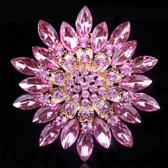 baiduqiandu Brand Classic Crystal Rhinestones Big Daisy Flower Brooches for Wome