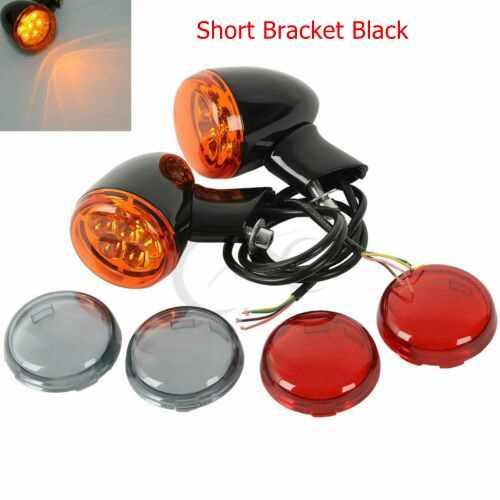 Belakang Sepeda Motor Amber LED Turn Sinyal Lampu Bracket Menunjukkan Lampu untuk Harley Sportster XL 883 1200 1992-2017 Chrome hitam
