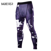 NIBESSER Camouflage Skinny Leggings Tights Men Quick Dry Compression Tights Slim Fitness Breathable Elastic Pants Autumn