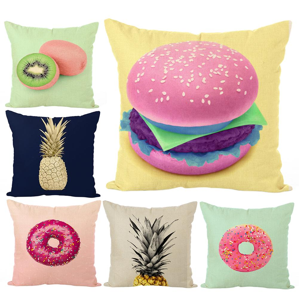 Electronic Components & Supplies Kiwi Fruit/hamburger/pineapple Pillow Case Cushion Cover Home Sofa Car Decor Hot Refreshing And Enriching The Saliva