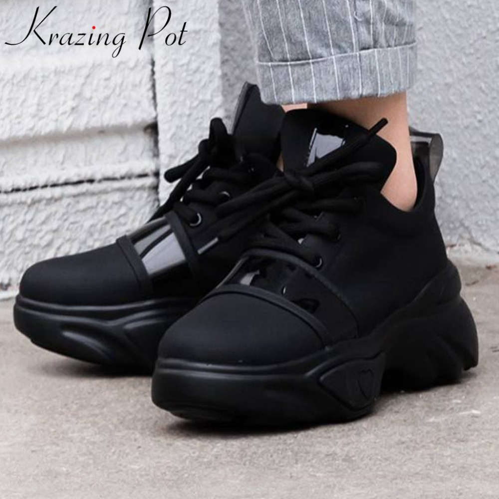 Krazing Pot handsome girls thick bottom platform natural leather lace up sneakers breathable big size women