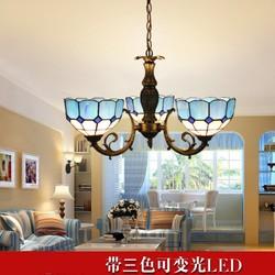 Śródziemnomorska trzy klosze lampa wisząca  lampa sufitowa  lampa do jadalni  sypialnia do nauki  światło  prosty ogród