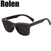 Rolen Excellent Ebony Laminated Wooden Shades Real Stone Sunglasses