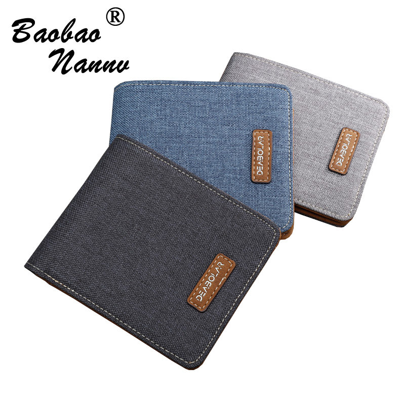 Super Thin 2018 Vintage Short Men Wallets Transverse Multi Card Vertical Coin Purse Canvas Wallet For Men Students Teenager