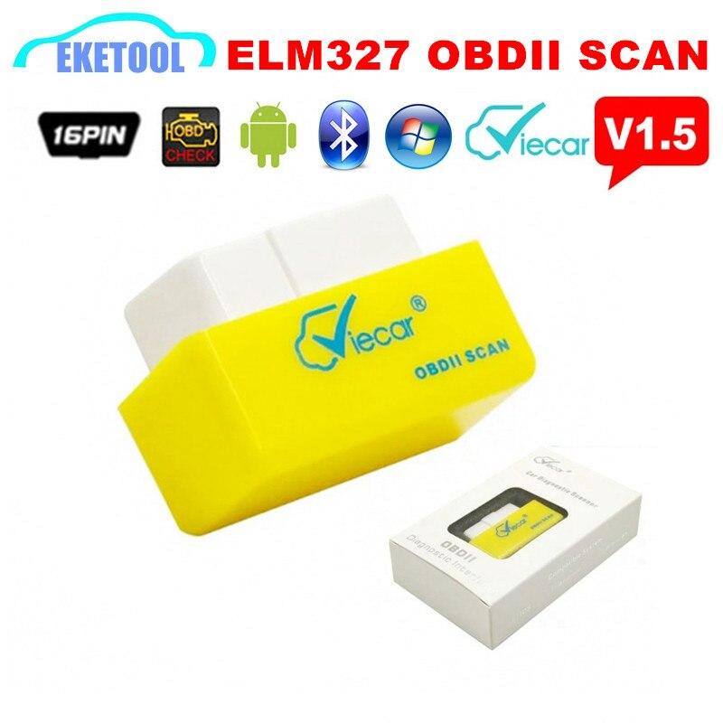 Prix pour En gros 10 pcs/Lot OBD2 Diagnostic Scanner ELM327 V1.5 Travaux sur Android/Windows Low Power Current Firmware V1.5 Viecar ELM 327