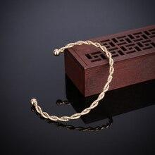 Shellhard Twisted Man Bracelets Bangles Luxury Twisted Open Cuff Bracelet  For Women Femme Wedding Wrist Band Hand Jewelry