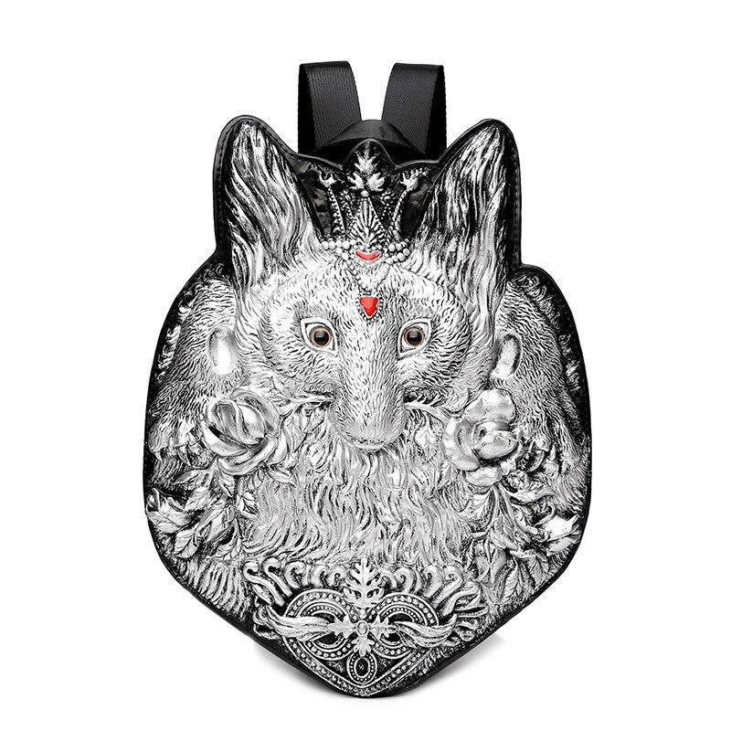 Männer Rucksack Niet 3D Fuchs vintage Gothic Carving Geprägte Schulter Tasche Reise Rucksack Wiederherstellung Halloween Coole Leder laptop Tasche-in Rucksäcke aus Gepäck & Taschen bei  Gruppe 1