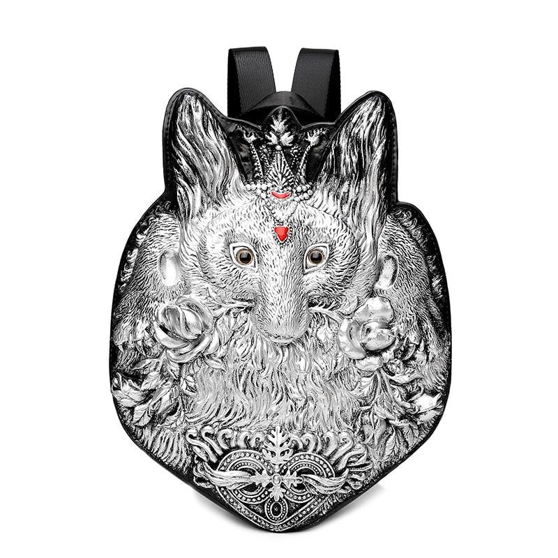 Mannen Rugzak Klinknagel 3D Vos vintage Gothic Carving Reliëf Schoudertas Rugzak Herstellen Halloween Cool Lederen laptoptas-in Rugzakken van Bagage & Tassen op  Groep 1