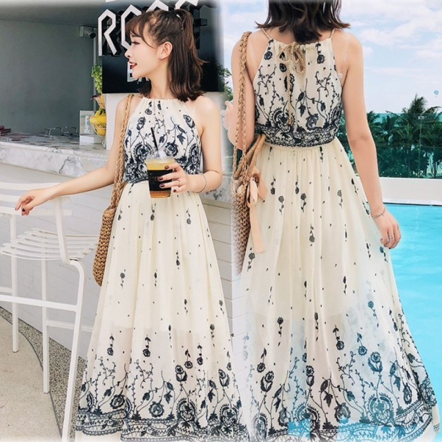 2fd4999c3f3c Japanese Women's Maxi Dresses Summer Floral Bohemian Suspenders Chiffon  Dress Flowy Beach Party Strap Boho Long