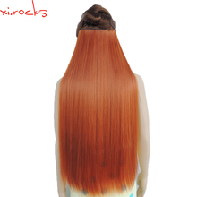 5piece/Lot Xi.rocks Synthetic Clip in Hair Extension 28inch Length Straight Hairpiece 5 Hair Clips Matte Copper Red Color 119