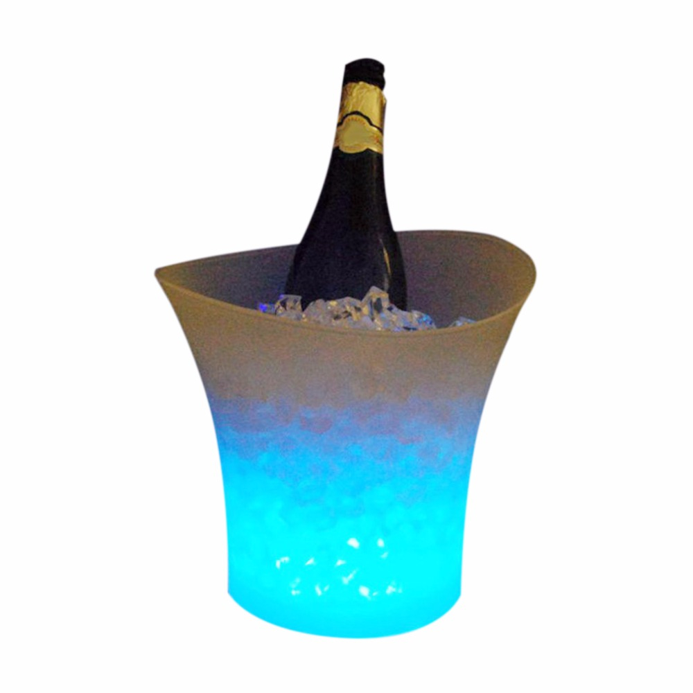5L Waterproof Plastic LED Ice Bucket Color Changing Bars Nightclubs Light Up Champagne KTV Beer pail Bars Night Party lamp barre