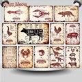 Резаки для мясника из говядины, курицы, свиньи, мясо, винтажный металлический знак, Трицератопс, Резальные тарелки, кухонный декор для мясни...