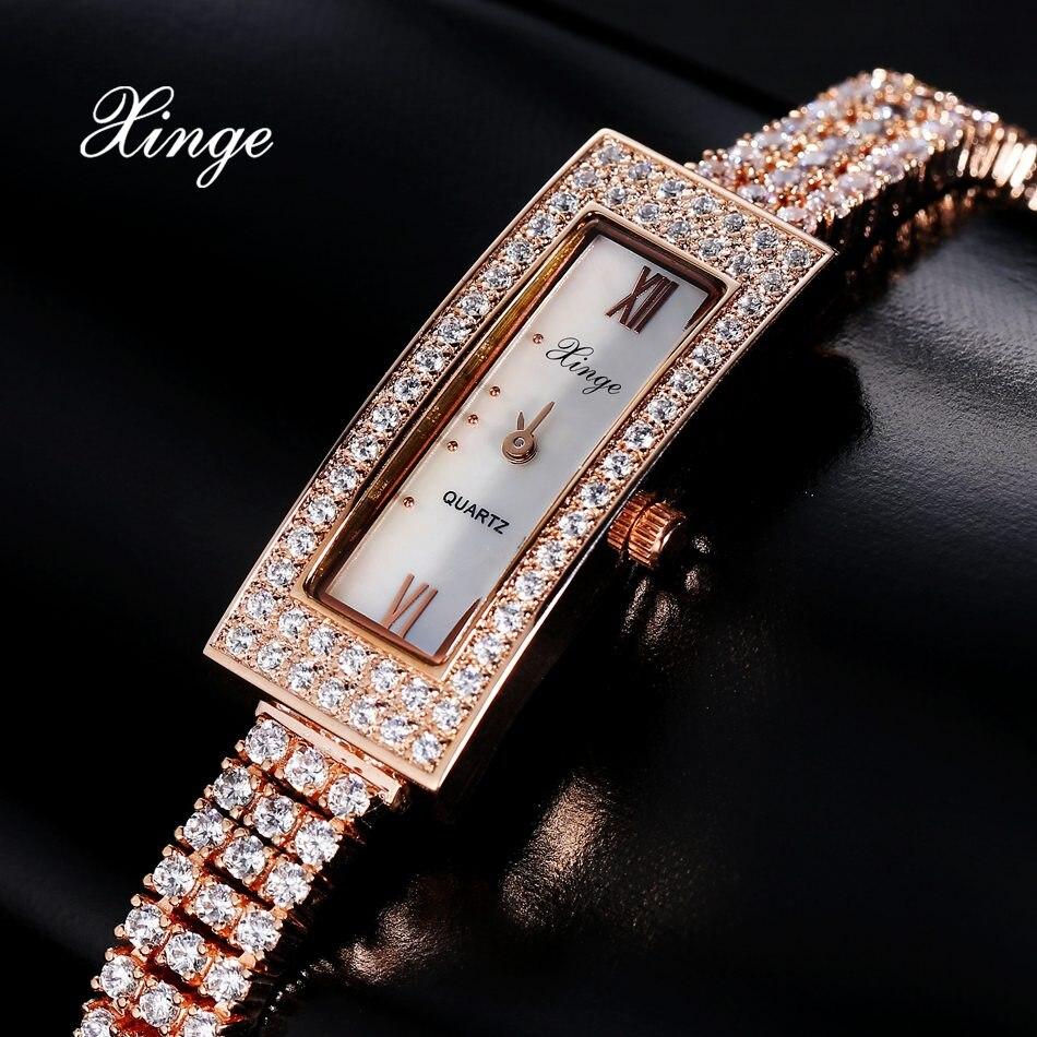 Xinge Brand Luxury Watches Women Zircon Bracelet Quartz Clock Ladies Fashion Sport Wristwatch Gift Relogio Feminino xinge brand watches for women luxury zircon quartz wrist ladies rose gold dress watch women bracelet clock gift relogio