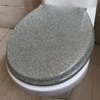 40*33CM High-grade Glitter Silver Color Stainless Steel Slow Down Hinge Resin Toilet Seat Cover Suitable For U,V Shaped Toilet