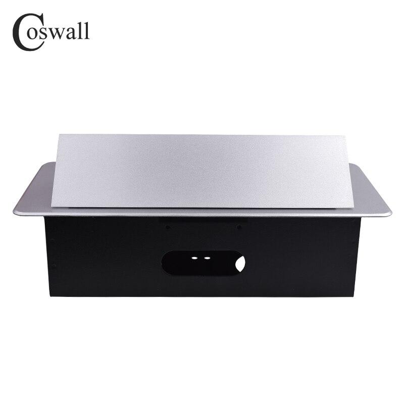 Plaque en alliage de Zinc COSWALL 16A lente POP UP 2 prises EU double Port de Charge USB 2.1A Table de bureau sortie de bureau boîte en acier noir - 3