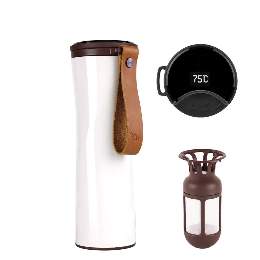 Smart Coffee Mug with OLED Temperature Display Stainless Steel Travel Tumbler for Coffee 431ml Water Bottle