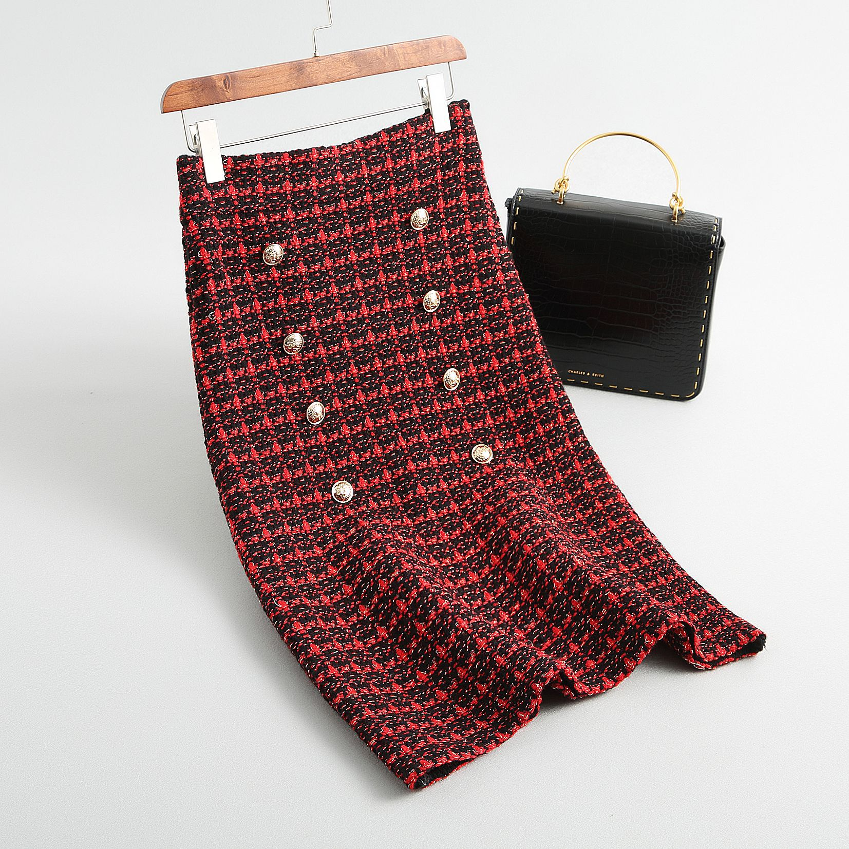19 Spring autumn New tweed Women's skirt elegant Office Double Breasted plaid knitted Vintage Package Hip midi skirt Female 7