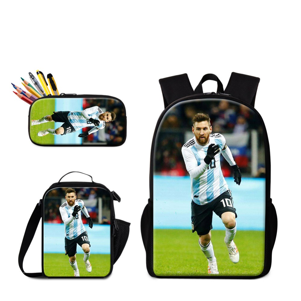 Messi School Bag Cristiano Ronaldo Backpack for Boy Soccers Insulated Lunch Box Characters Book Bag Pencil Case Footballs PackMessi School Bag Cristiano Ronaldo Backpack for Boy Soccers Insulated Lunch Box Characters Book Bag Pencil Case Footballs Pack
