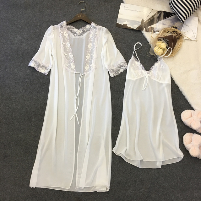 Lisacmvpnel 2 Pcs Sexy Chiffon Women Robe Sets Nightgown+Robe Women Bathrobe Elegant Women Homewear
