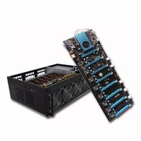 Professional Mining Machine Systems 8PCI E 4GB DDR4 M.2 60G SSD RJ45 Gigabit VGA USB2.0 BTC IC6S Board With 4 Fans