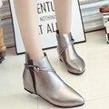 Venda quente 2017 Elegante Mulheres Outono Inverno Nova Moda Feminina Slip-On Fivela Zíper Martin Botas Sapatos de Senhora Tornozelo Booties G266