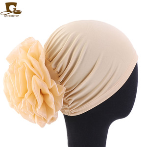 Image 5 - New Big Flower Women Turban Hat Muslim Headscarf Pile Heap Cap Women Soft Comfortable Hijab Caps Islamic Chemotherapy Hat