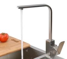 Бесплатная доставка 304 из нержавеющей стали матовый никель кухни смесители кран одной рукой горячей и холодной умывальник смеситель водопроводной воды KF650