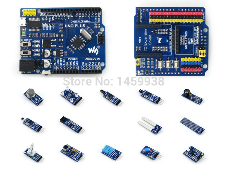 ФОТО AVR Board UNO PLUS Onboard MCU ATMEGA328P-AU Compatible with UNO R3 Board Kit + IO Expansion Shield +Sensor Modules