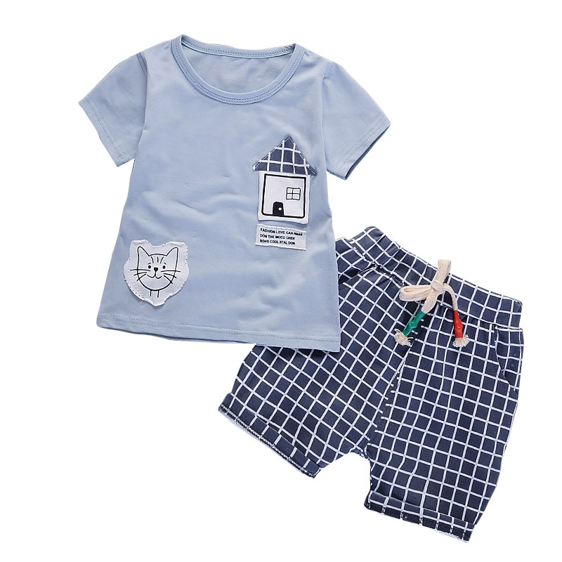 2Pcs Baby Clothing Set Summer Boy Cartoon Houses Pattern Comfortable Short Sleeve T-shirt Plaid Shorts Trousers