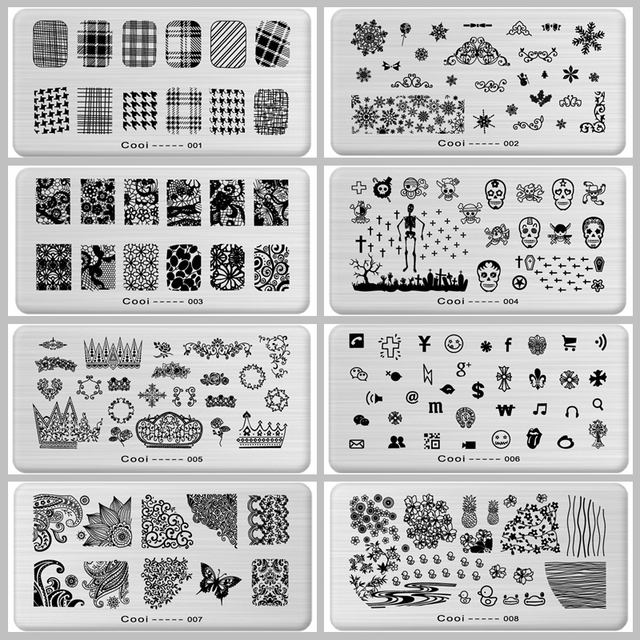 Nail Stamping Plates Stamping Nail Art Steel Konad Plates Stamp Manicure Template Nail Tools Flowers Fruit Animal Dark Butterfly