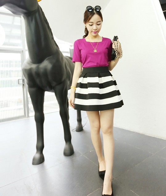 9271d1d0a 2013 autumn new classic high waist black and white striped Bubble Skirt-in  Skirts from Women's Clothing on Aliexpress.com | Alibaba Group