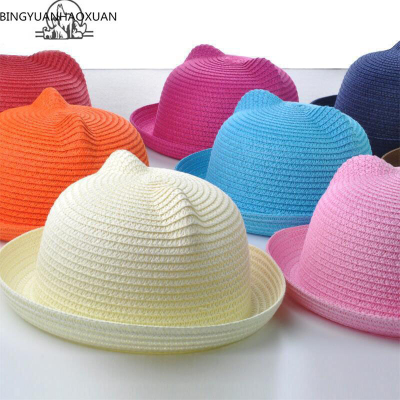 2017 Brand Straw Hat Summer Child Ear Decoration Beautiful Child Boys and Boys Sun Hat Solid Kid Floppy Panama