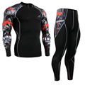 Compression Shirts&Tights Set Skin-Tight  MMA Workout Fitness Quick-Drying Men's Compression Clothing Set Suit CPD/P2L-B30