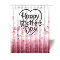 Falling Pink Flower Petals Home Decor, Happy Mother's Day Polyester Fabric Shower Curtain Bathroom Sets 60 X 72 Inches