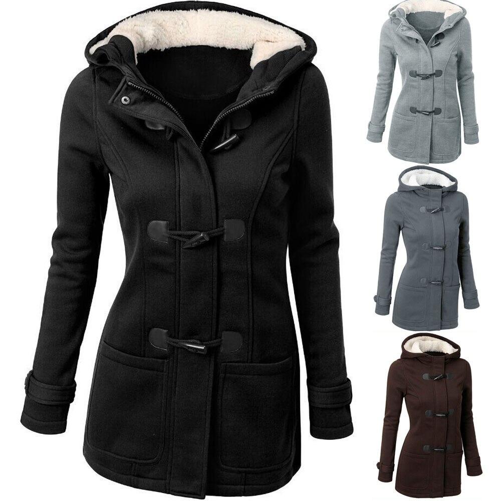 Wonder Trench Coat 2018 new Autumn Winter Wool Blend Overcoat Female Slim Long Hooded Coat Zipper Horn Button Outwear Plus Size