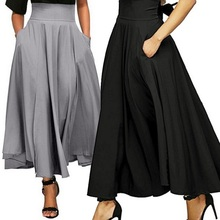 ZOGAA 2019 Fashion High Waist Length Skirt With Pocket Quality Solid Ankle-Length Vintage For Women Black Long