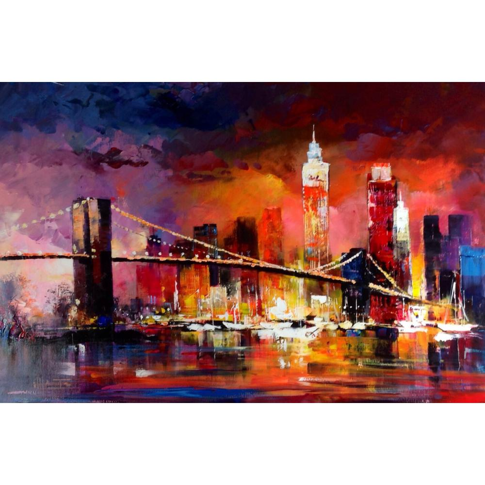 City New York Oil Painting On Canvas Wall Art For Living: Aliexpress.com : Buy Contemporary Art Landscape Paintings